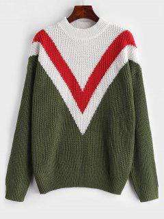 Zig Zag Drop Shoulder Sweater - Fern Green S