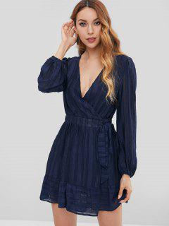 Ruffle Hem Wrap Dress - Midnight Blue M