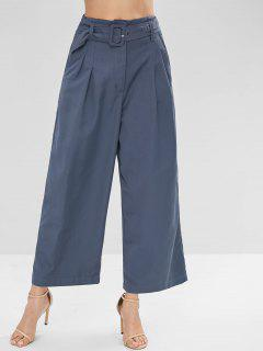High Waisted Belted Wide Leg Pants - Slate Blue L