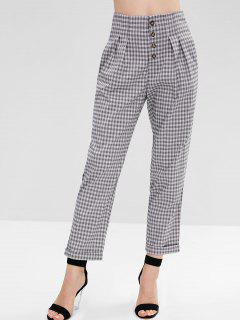 Button Fly Plaid High Waisted Pants - Multi S