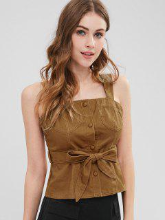Square Neck Smocked Belted Tank Top - Brown M