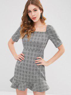 Non-slip Ruffle Checked Dress - Multi L