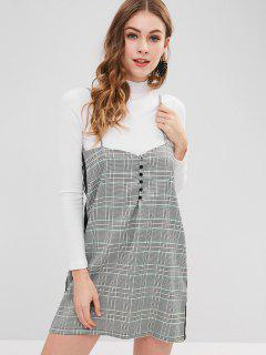 Side Stripe Checked Mini Cami Dress - Multi L