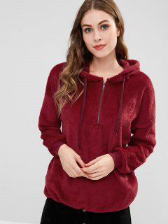 Half-zip Fleece Tunic Hoodie - Red Wine L