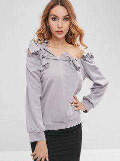 Knotted One Shoulder Sweatshirt - Gray M