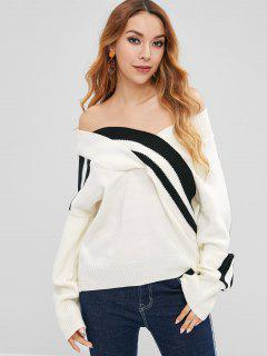 Striped Off Shoulder Loose Sweater - White