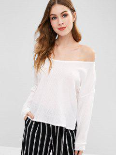Side Slit Loose Knitted Top - White S