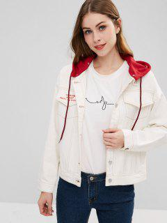 Hooded Oversized Jean Jacket - White