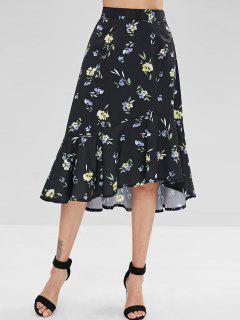 Asymmetric Floral Flounce Skirt - Black L