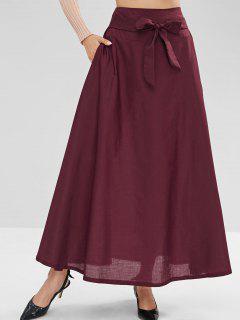 Waist Tie Maxi Skirt - Firebrick M