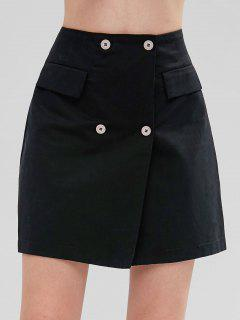 Double Button Pelmet Mini Skirt - Black M