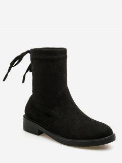 Bow Tie Back Flat Short Boots - Black Eu 38