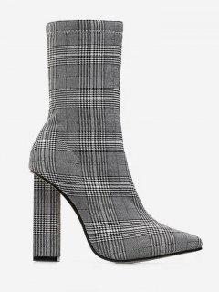 Chunky Heel Houndtooth Short Boots - Blue Gray Eu 37