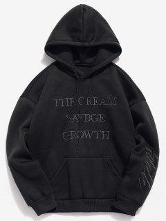Solid Letter Embroidered Fleece Hoodie - Black M