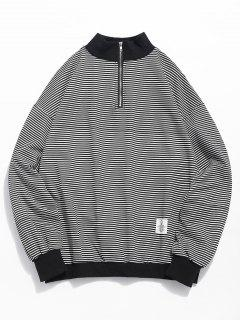 Quarter Zip Striped Sweatshirt - Black M