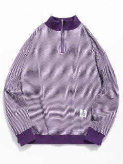 Quarter Zip Striped Sweatshirt - Purple Xl