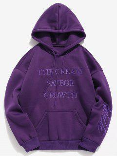Solid Letter Embroidered Fleece Hoodie - Purple Amethyst Xs