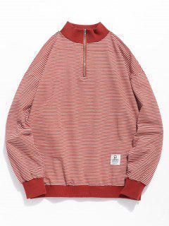 Viertel Zip Gestreiftes Sweatshirt - Rot M
