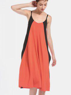 Color Block Swing Casual Dress - Bean Red M