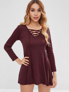 Lace Up Long Sleeve Skater Dress - Red Wine L