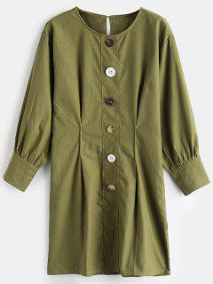 Buttoned Casual Mini Dress - Avocado Green L