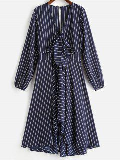 A Line Striped Long Sleeve Dress - Midnight Blue M