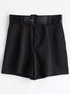 High Waist Belted Wide Leg Shorts - Black S