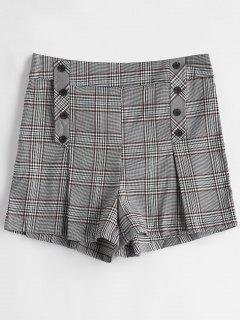 Plaid Button Embellished Shorts - Gray S