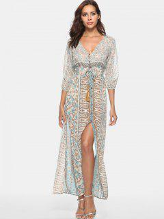 Button Up Printed Smocked Maxi Dress - Multi M