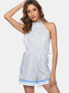 Diamond Tassels Backless Romper - White M