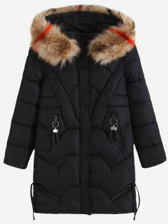 Zip Pockets Faux Fur Hood Quilted Winter Coat - Black M