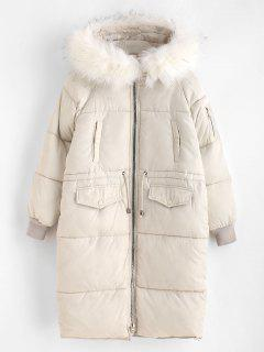 Faux Fur Hood Long Quilted Winter Coat - Warm White Xl