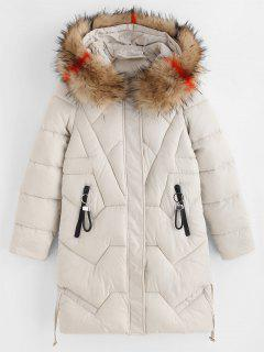 Zip Pockets Faux Fur Hood Quilted Winter Coat - Warm White S