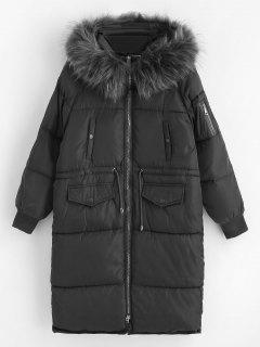 Faux Fur Hood Long Quilted Winter Coat - Gray M