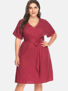 Belt Cuffed Plus Size Dress - Cherry Red 2x