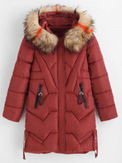 Zip Pockets Faux Fur Hood Quilted Winter Coat - Bean Red M