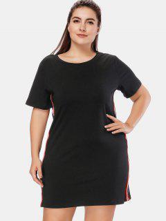 Side Stripe Plus Size T Shirt Dress - Multi-a 2x