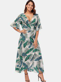 Palm Leaf Plus Size Maxi Wrap Dress - Multi 1x