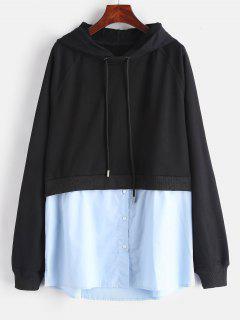 Side Slit Shirt Patched Hoodie - Black L