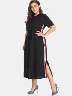 Drawstring Side Stripe Plus Size Dress - Black 3x