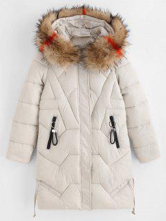 Manteau à Capuche Doudoune D'Hiver Matelassé Avec Poches Zippées En Fausse Fourrure - Blanc Chaud L
