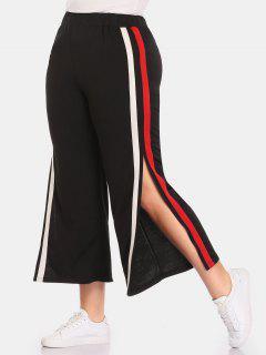 Side Striped Slit Plus Size Pants - Black 2x