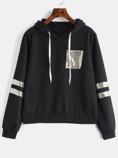 Sequined Drawstring Hoodie - Black M