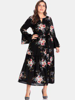 Vestido Largo Con Recorte Floral - Negro 4x