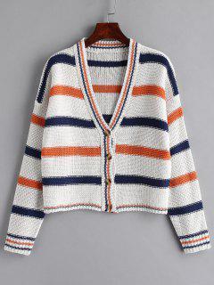 Drop Shoulder Striped Cardigan - White S