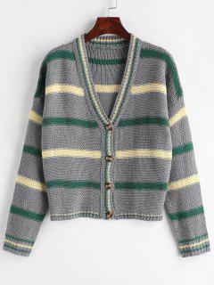 Drop Shoulder Striped Cardigan - Gray M