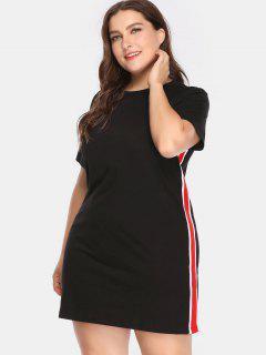Side Stripe Plus Size T Shirt Dress - Multi-b 1x