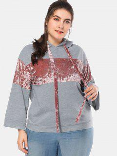 Velvet Panels Plus Size Hoodie - Light Gray 3x