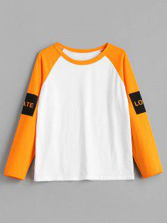 Hit Color Letter Print Raglan Sleeve T-shirt - White S