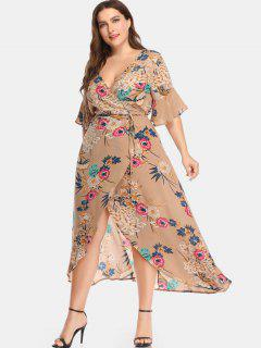 Plunge Plant Print Plus Size Wrap Dress - Multi 1x